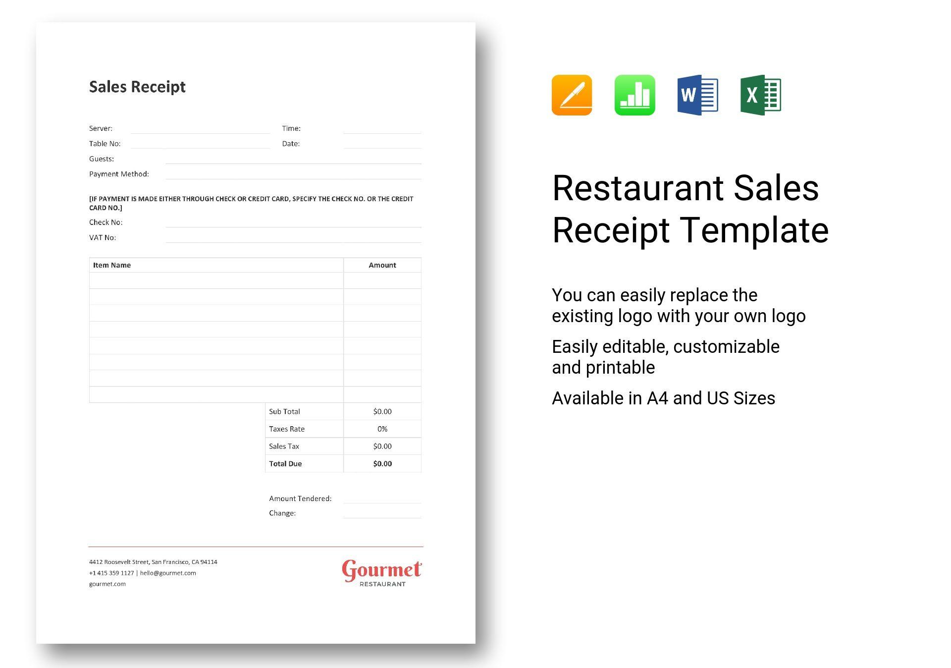 Restaurant Sales Receipt Template In Word Excel Apple