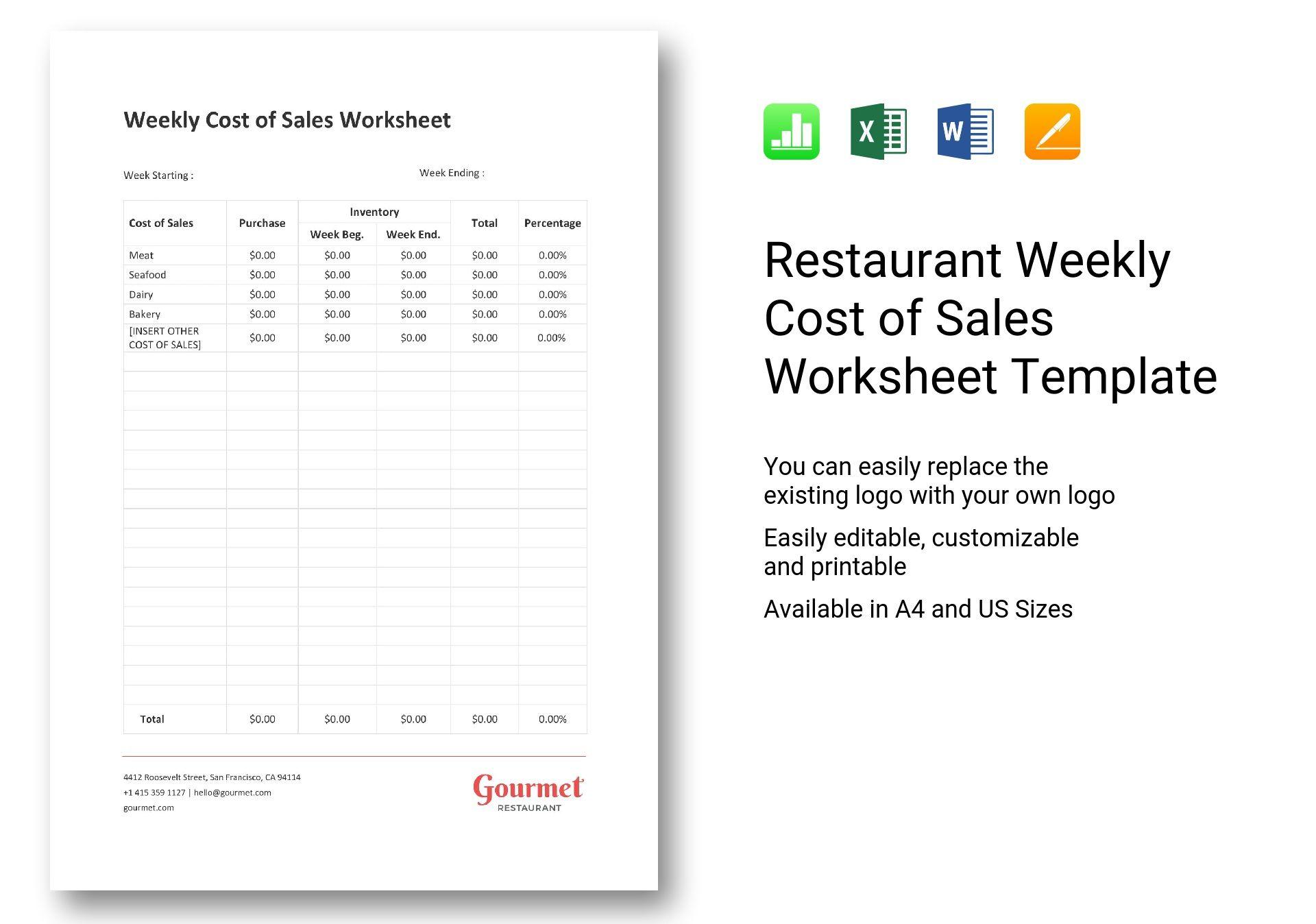 Restaurant Weekly Cost Of Sales Worksheet Template In Word