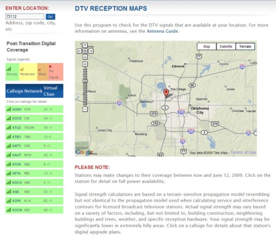 dtv reception map