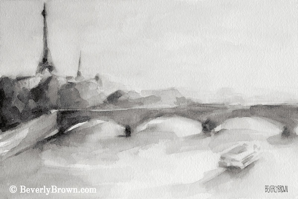 Bridge on the seine black and white paris painting by beverly brown french wall art