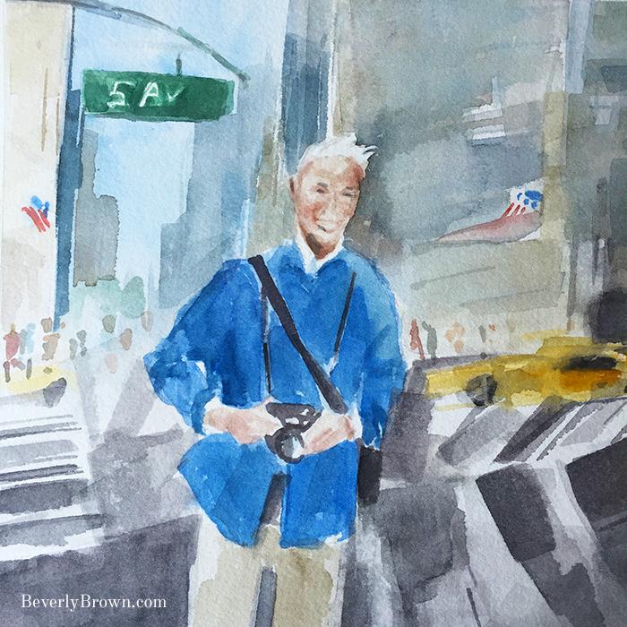 Bill Cunningham, New York street style photographer, painted by artist Beverly Brown. www.beverlybrown.com
