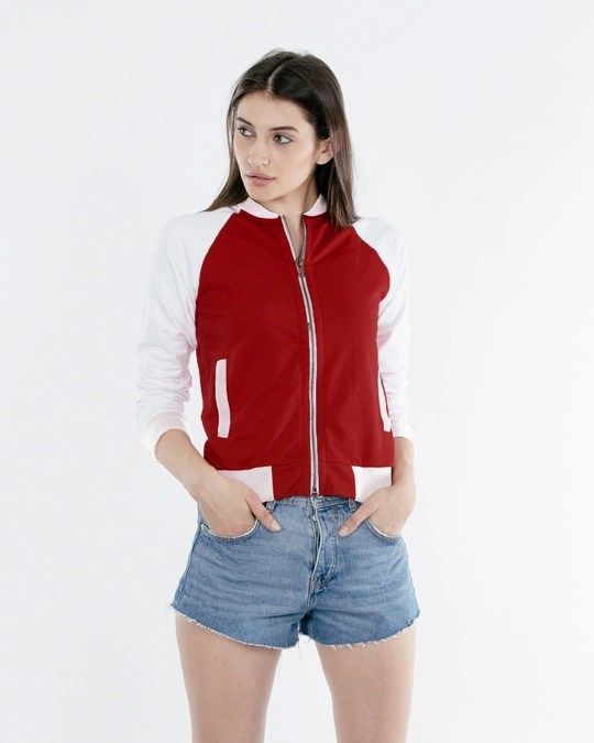 Shop Bold Red - White Contrast Sleeve Bomber Jacket-Front