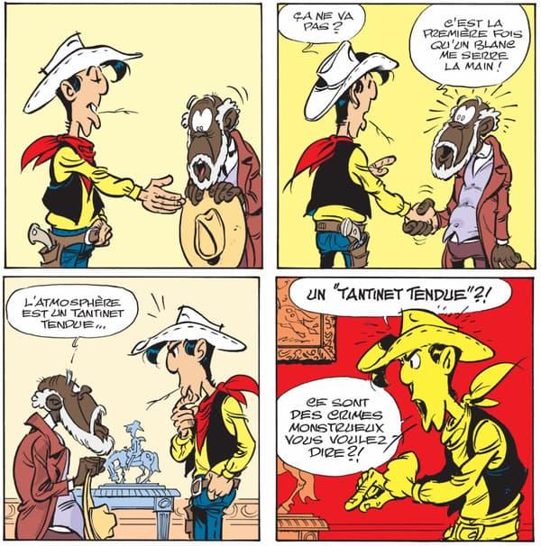 """Deux """"strips"""" du nouveau """"Lucky Luke"""", """"Un cowboy dans le coton"""""""