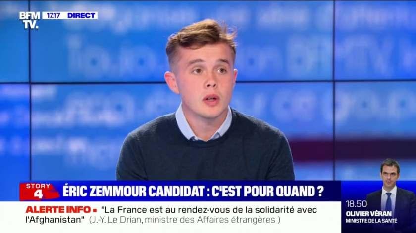 """Stanislas Rigault (Génération Z): """"On met tout en place pour [qu'Eric  Zemmour] puisse se présenter dans de bonnes conditions"""""""