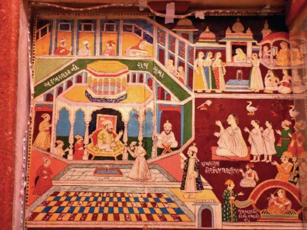 इस पेंटिंग में अकबर और हार्वे विजय सूरजी की मुलाकात को दर्शाया गया है।