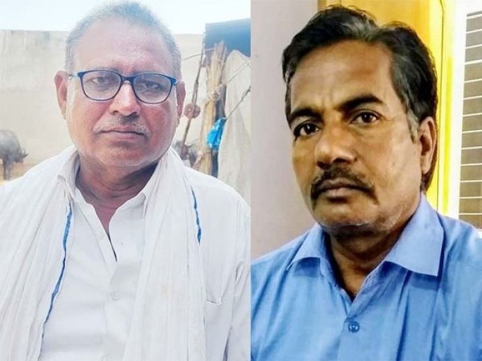Former Sarpanch Babulal Bairwa and JEN Vishnu Bansal.  - Dainik Bhaskar