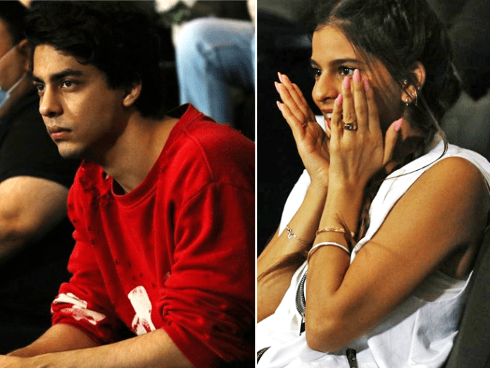 Aryan and Suhana Khan during the match.  However, his team suffered a defeat at the hands of Mumbai.