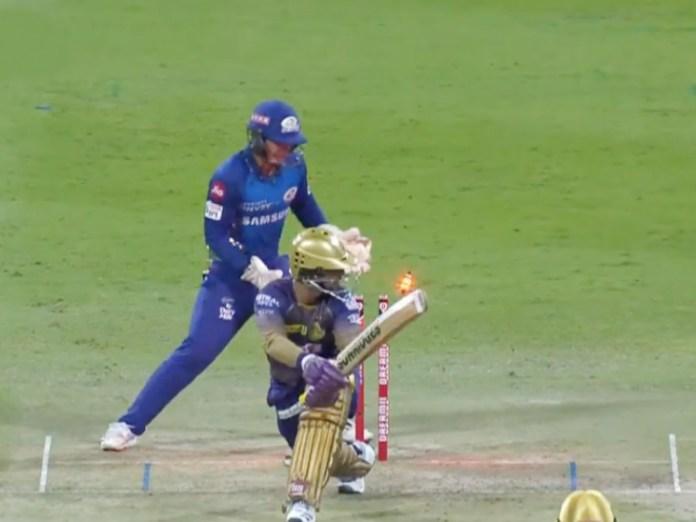 अपनी बैटिंग पर फोकस करने के लिए केकेआर की कप्तानी छोड़ने वाले दिनेश कार्तिक 8 बॉल पर 4 रन बनाकर आउट।