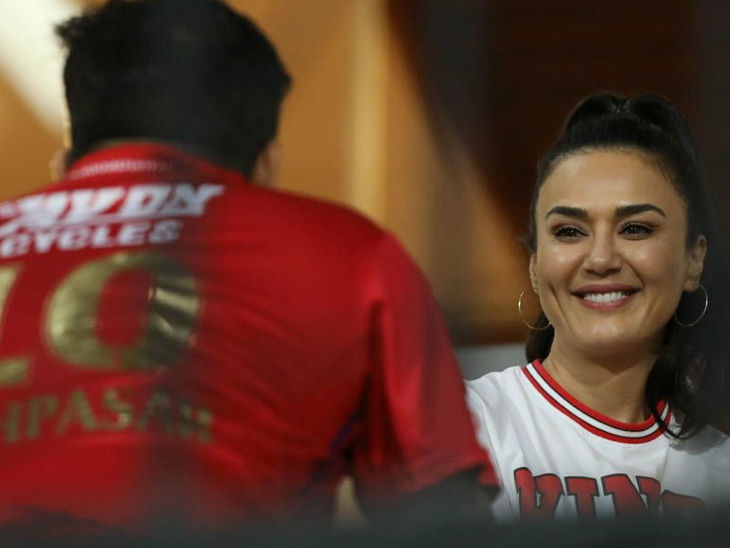 Punjab's mistress Preity Zinta looked very happy with her team's performance.