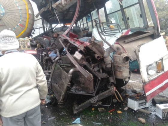 The collision was so fast that the engine of the bus was badly damaged.