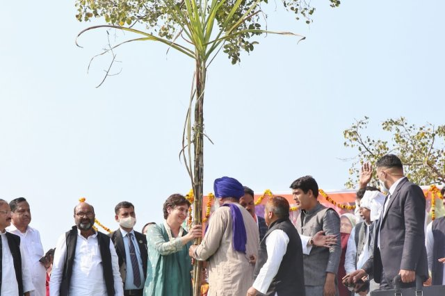Priyanka Gandhi involved in Kisan Panchayat held in Chandpur, Bijnor.
