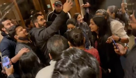 Ayushman taking selfie with students in hotel lobby