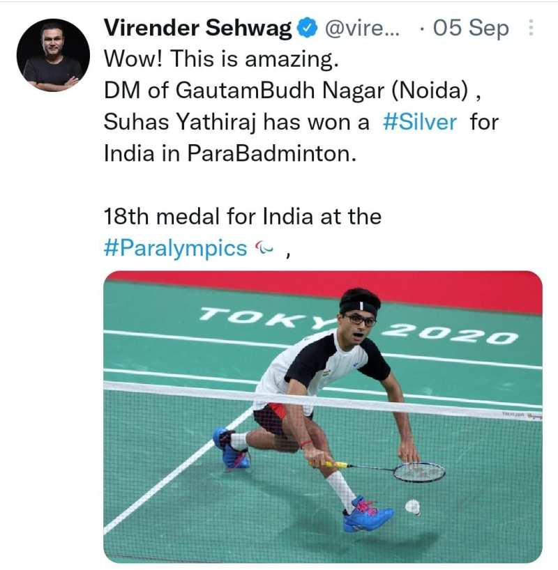Sehwag's congratulatory message on the victory of Tokyo Paralympic warrior DM Suhas LY