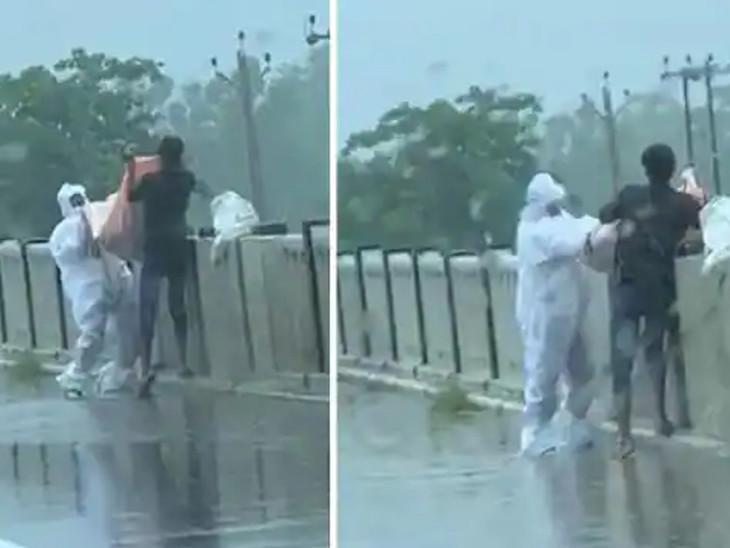 ઉત્તરપ્રદેશના બલરામપુરમાં PPE કિટ પહેરીને કોરોના પોઝિટિવનું શબ નદીમાં ફેંક્યું, વીડિયો વાઈરલ