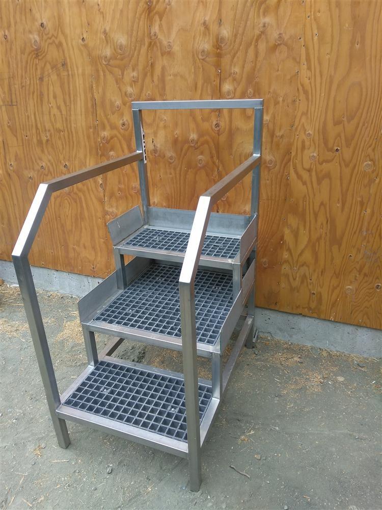 Stainless Steel Stairs 58 318050 For Sale Used | Used Steel Stairs For Sale | Seawall | Exterior | Hinged | Black Metal | Industrial