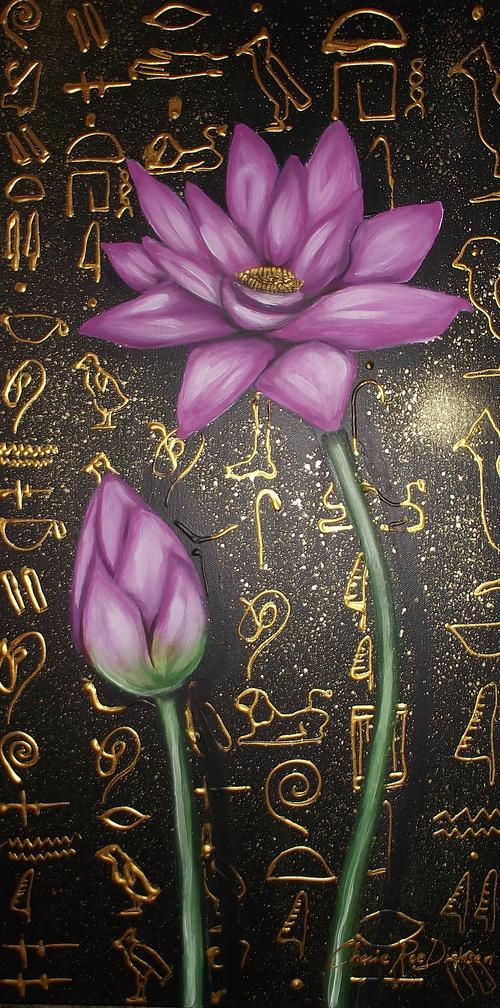 LOTUS WITH HIEROGLYPHS BY  CHERIE ROE DIRKSEN