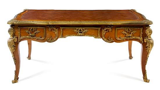 a louis xv style gilt bronze mounted bureau plat height 31 x width 68 1 2 x depth 37 3 4 inches by leslie hindman auctioneers 1106819 bidsquare