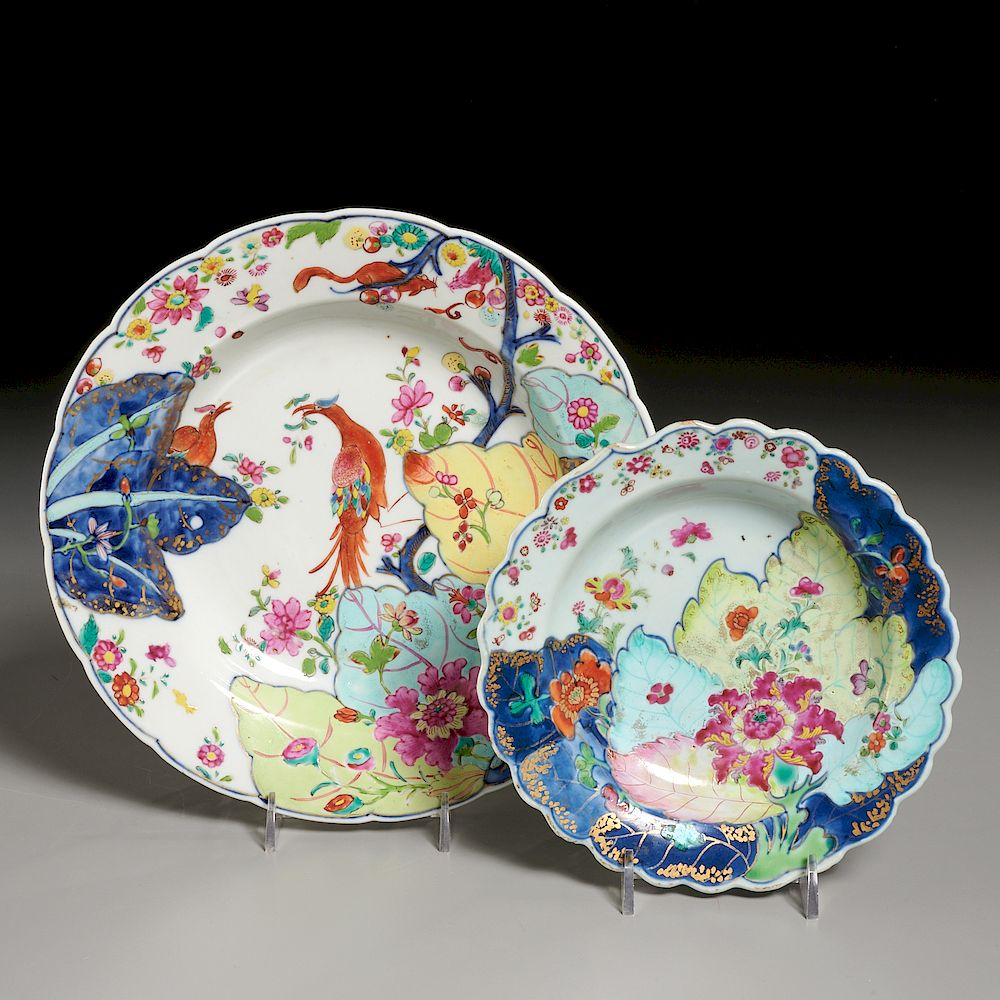 "(2) Chinese Export ""Tobacco Leaf"" Porcelain Dishes"