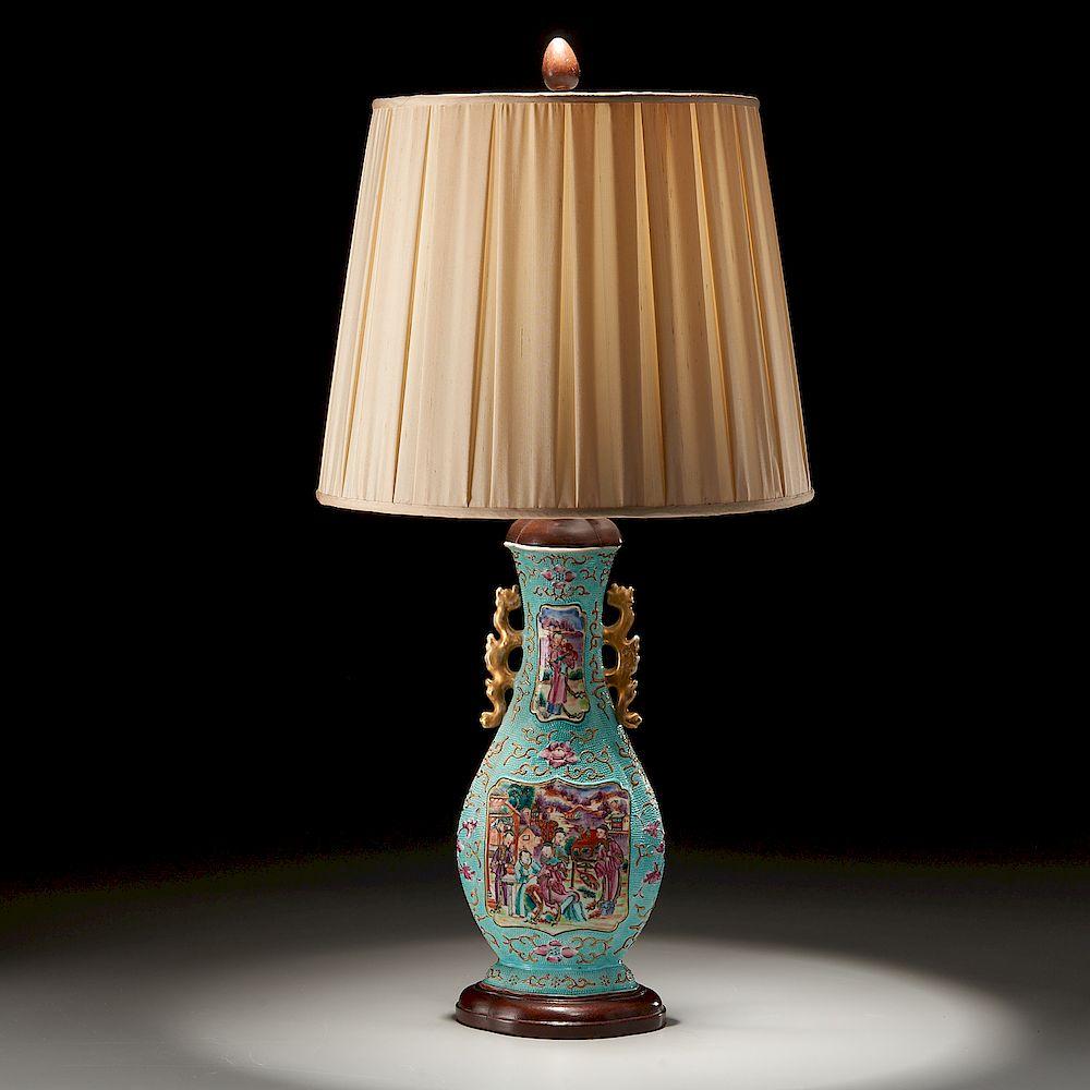 """Chinese Export """"Mandarin"""" Palette Vase Lamp"""