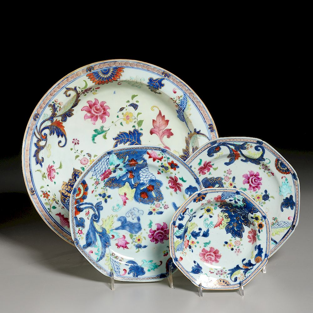 (4) Chinese Export Pseudo-Tobacco Leaf Porcelains