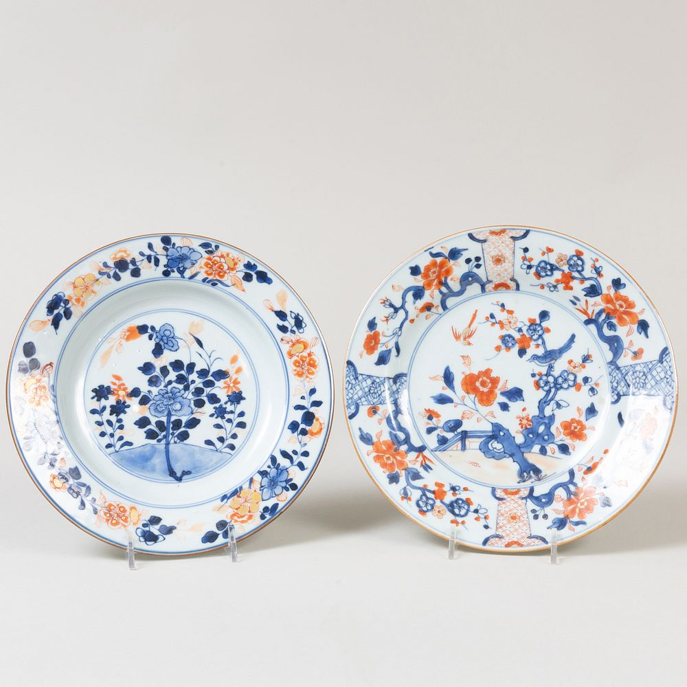 Two Chinese Export Imari Porcelain Plates