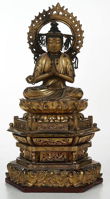 Japanese Carved Giltwood Bodhisattva