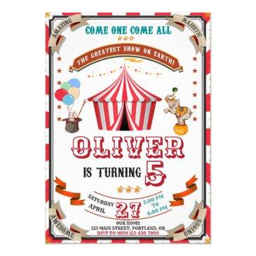 vintage circus birthday invitations