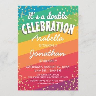 twin double birthday invitations