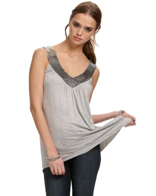 Quotation: Matty M Jersey Tank with Beaded Neckline