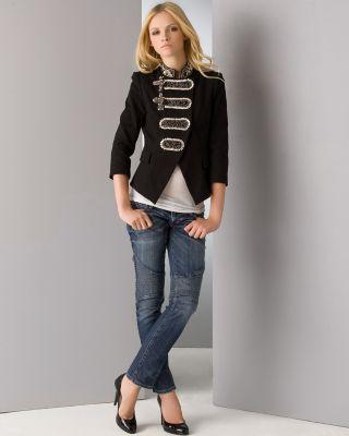 Larok Captain Glam Kitten-Print Black Jacket