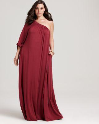 Rachel Pally White Label Plus Size Leandra One-Shoulder Dress