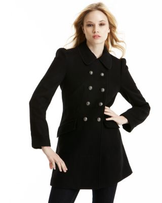 Juicy Couture Lana Double-Breasted Wool Pea Coat