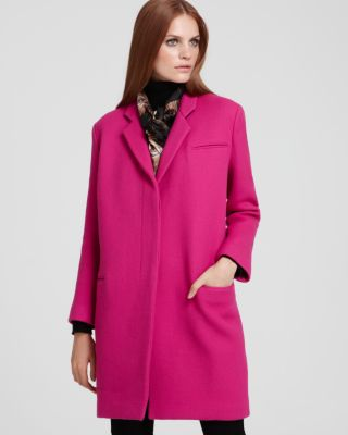 DKNY Long Sleeve Double-Breasted Wool Coat