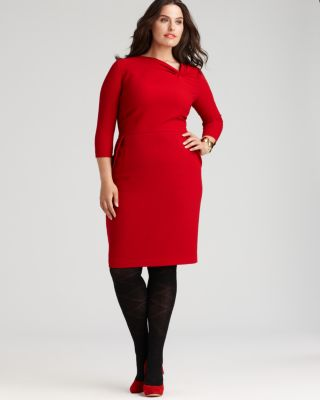 Lafayette 148 New York Plus Size Crepe Wool Sheath Dress