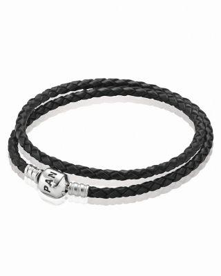 PANDORA Bracelet Black Leather Double Wrap With Sterling
