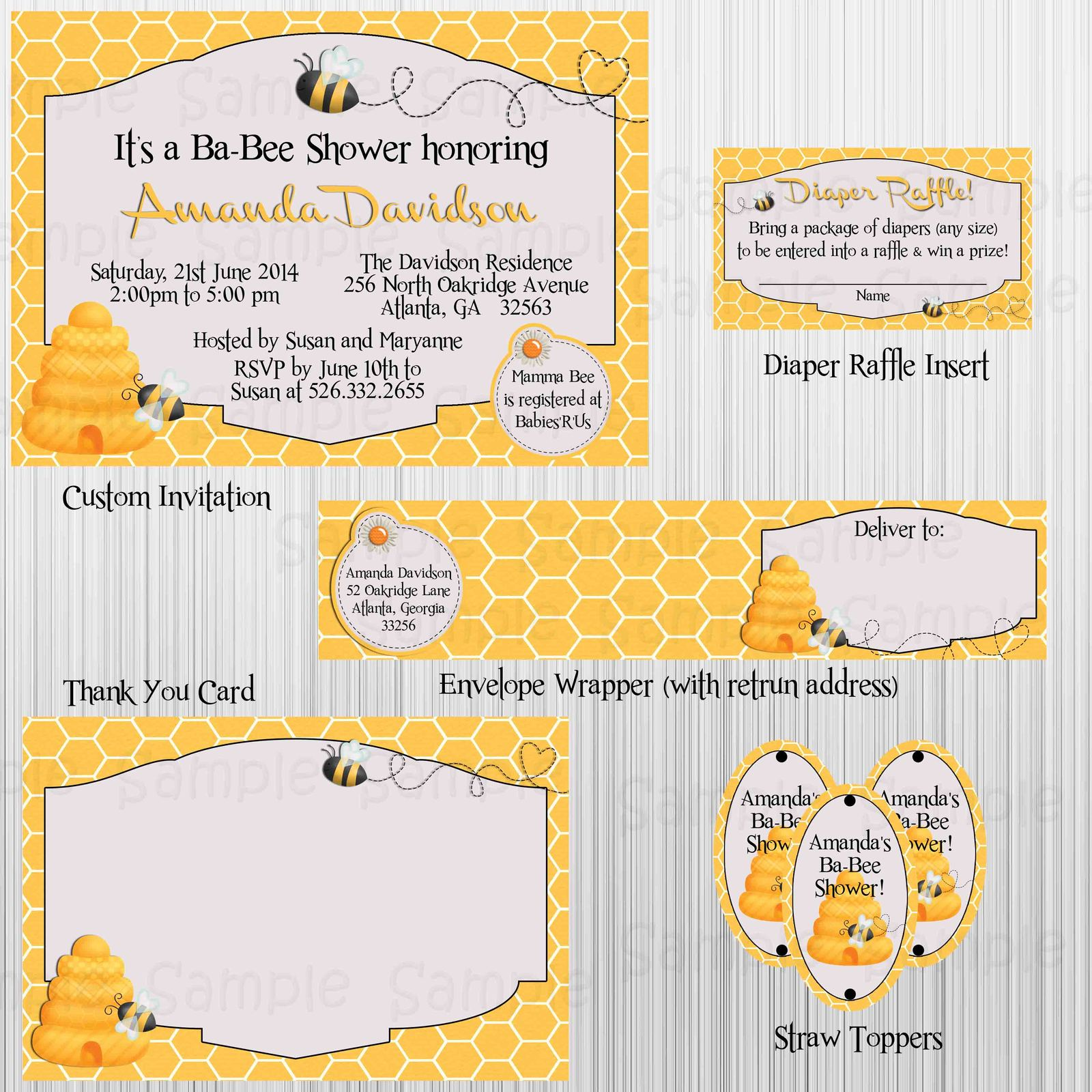 Bumble Bee Baby Shower Printable Party Package Invitation Bingo Diaper Raffle