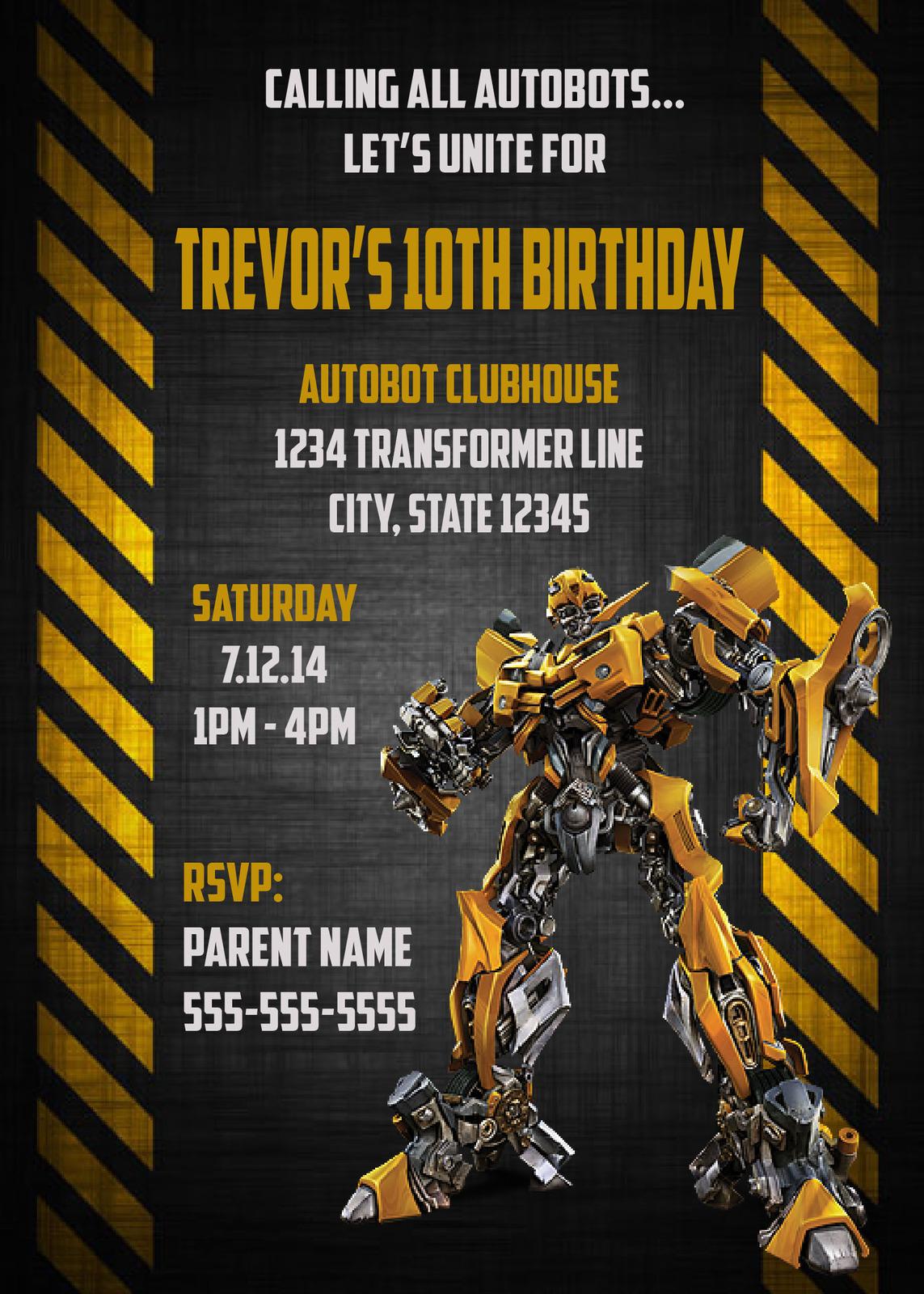 Printable Invitations Transformers