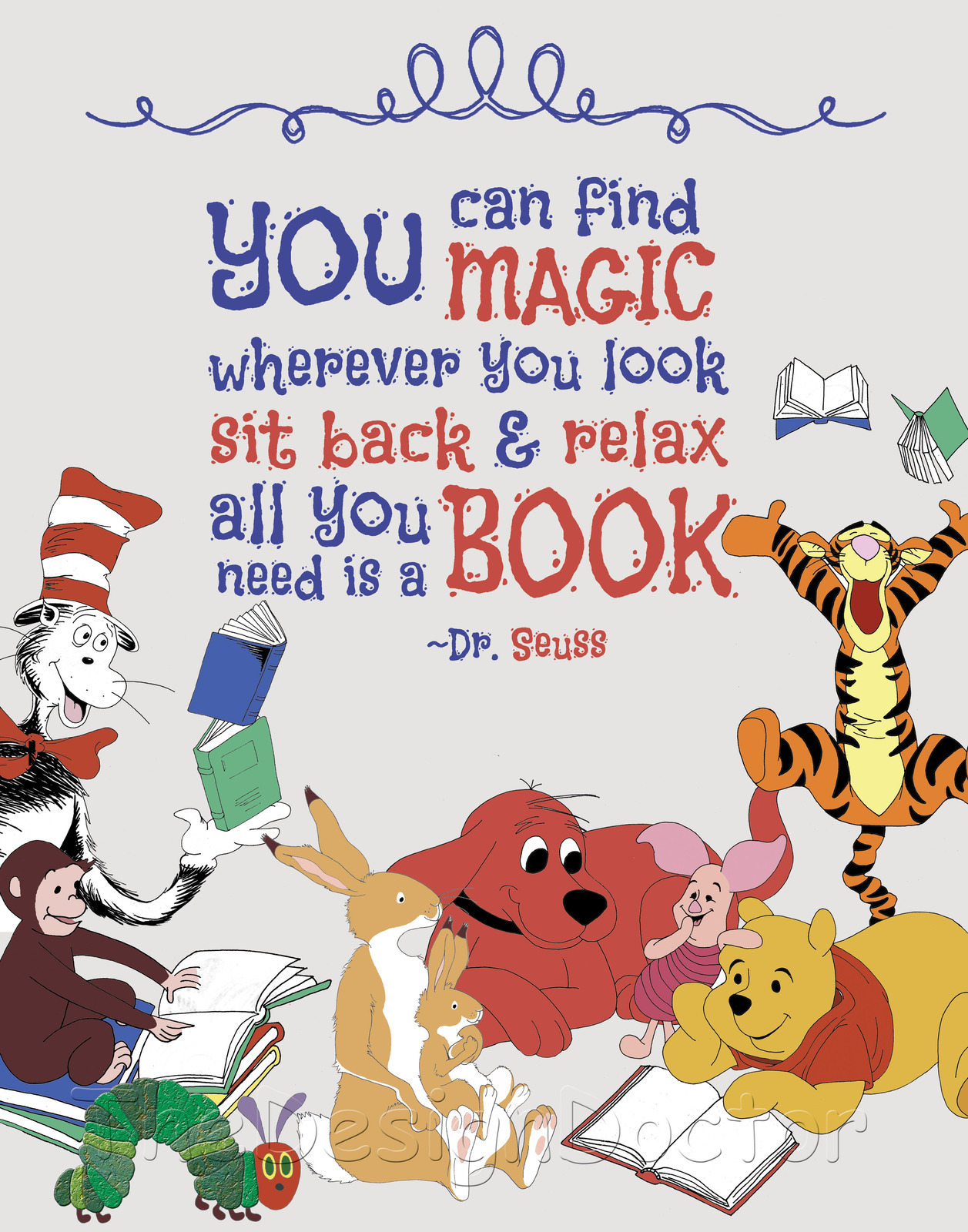 Dr Seuss Storybook Character Reading Quote Nursery Wall
