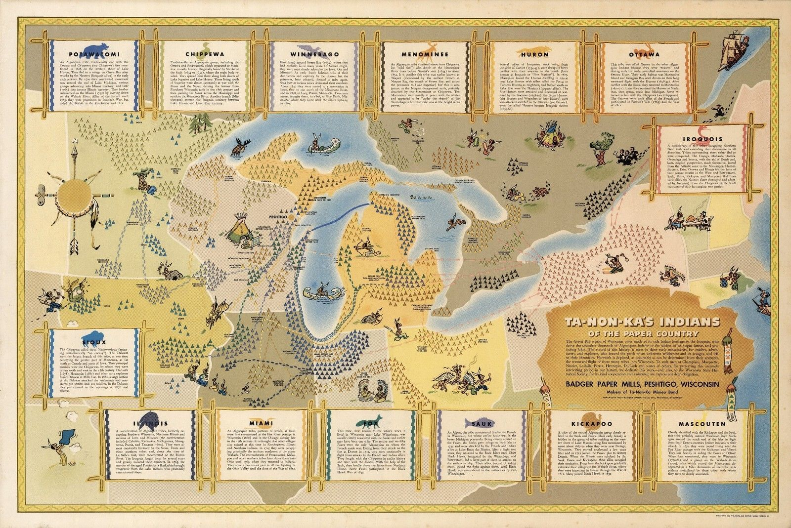 Pictorial Map Great Lakes Region Indians Native