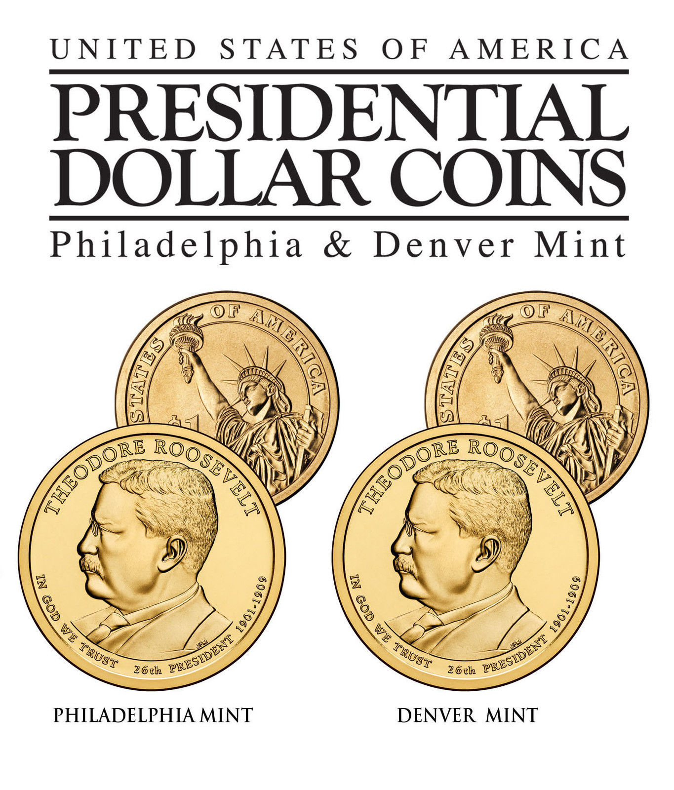 President Theodore Roosevelt Presidential 1 Dollar 2