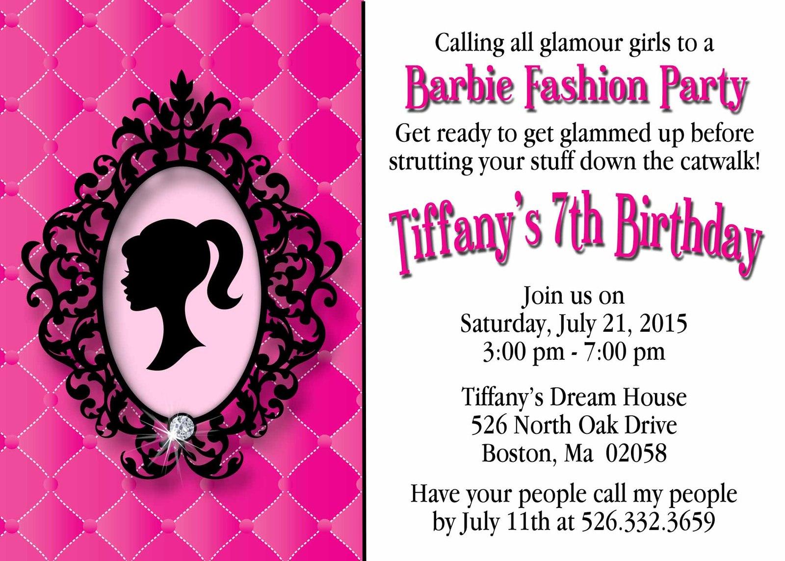 7th birthday invitation barbie theme