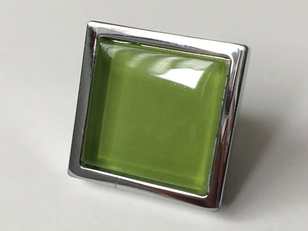 Green Glass Knobs Square Dresser Drawer Knobs Pulls
