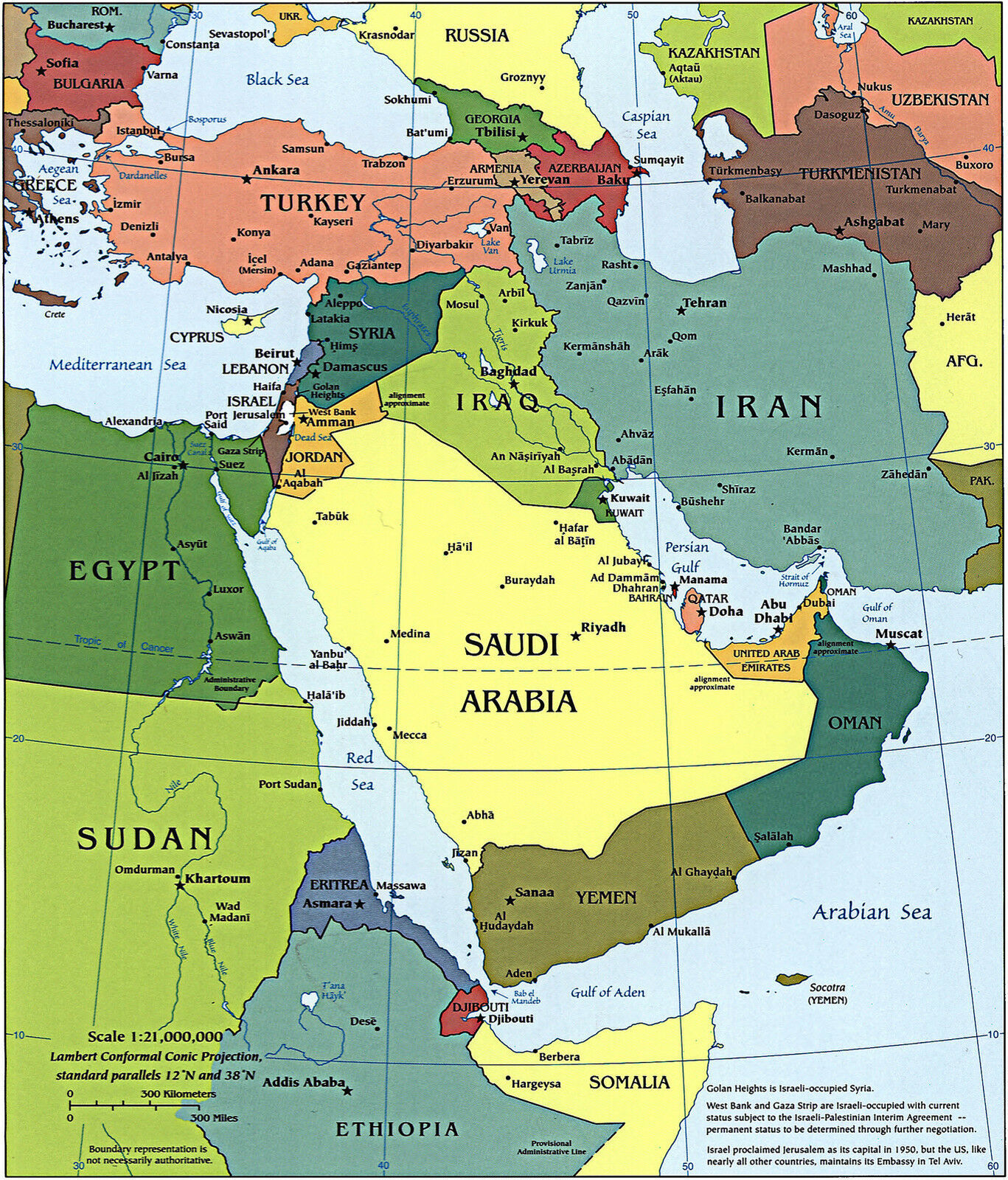 Cia Map Of The Middle East Political Wall Art Poster
