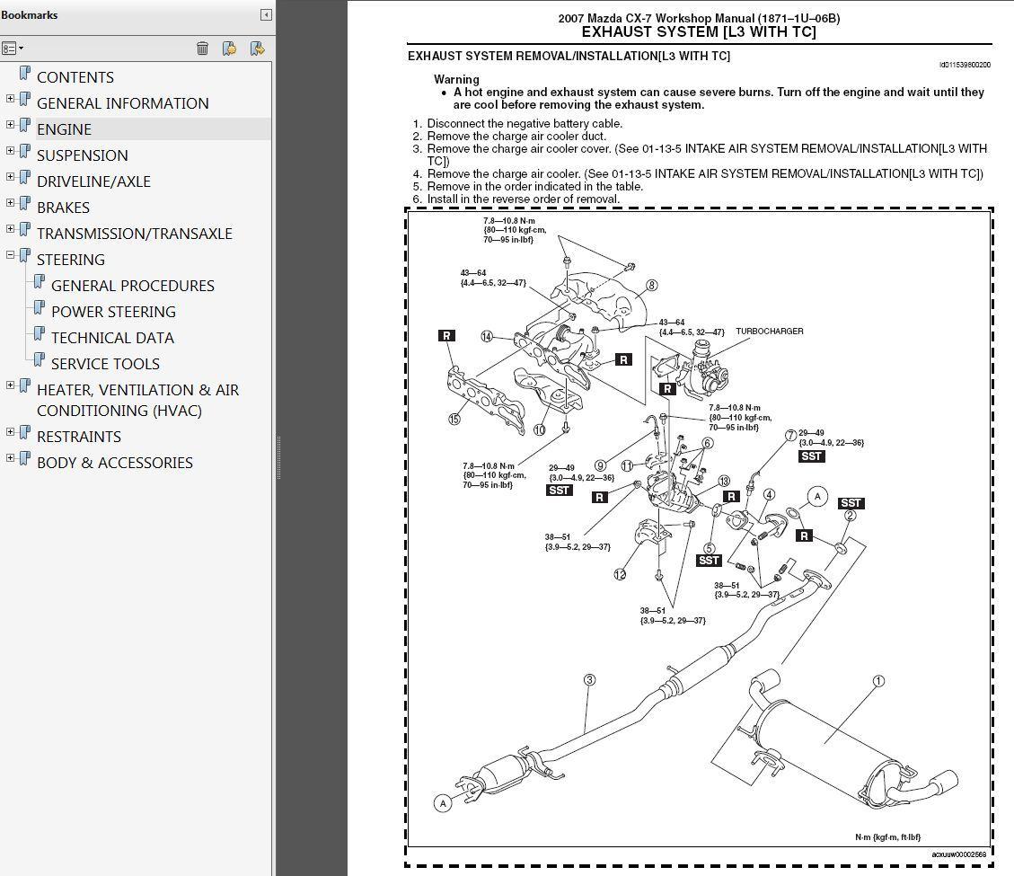Mazda Cx 7 2 3l Turbo Factory Repair Service