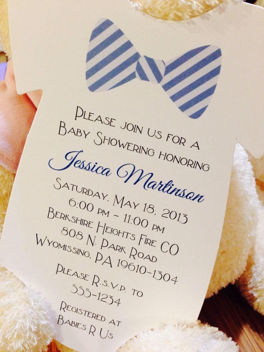 Baby Boy Onesie Baby Shower Invitation - Bow Tie All ...