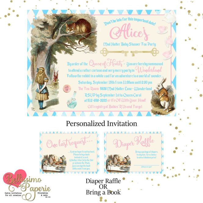 Vintage Alice In Wonderland Baby Shower And Similar Items