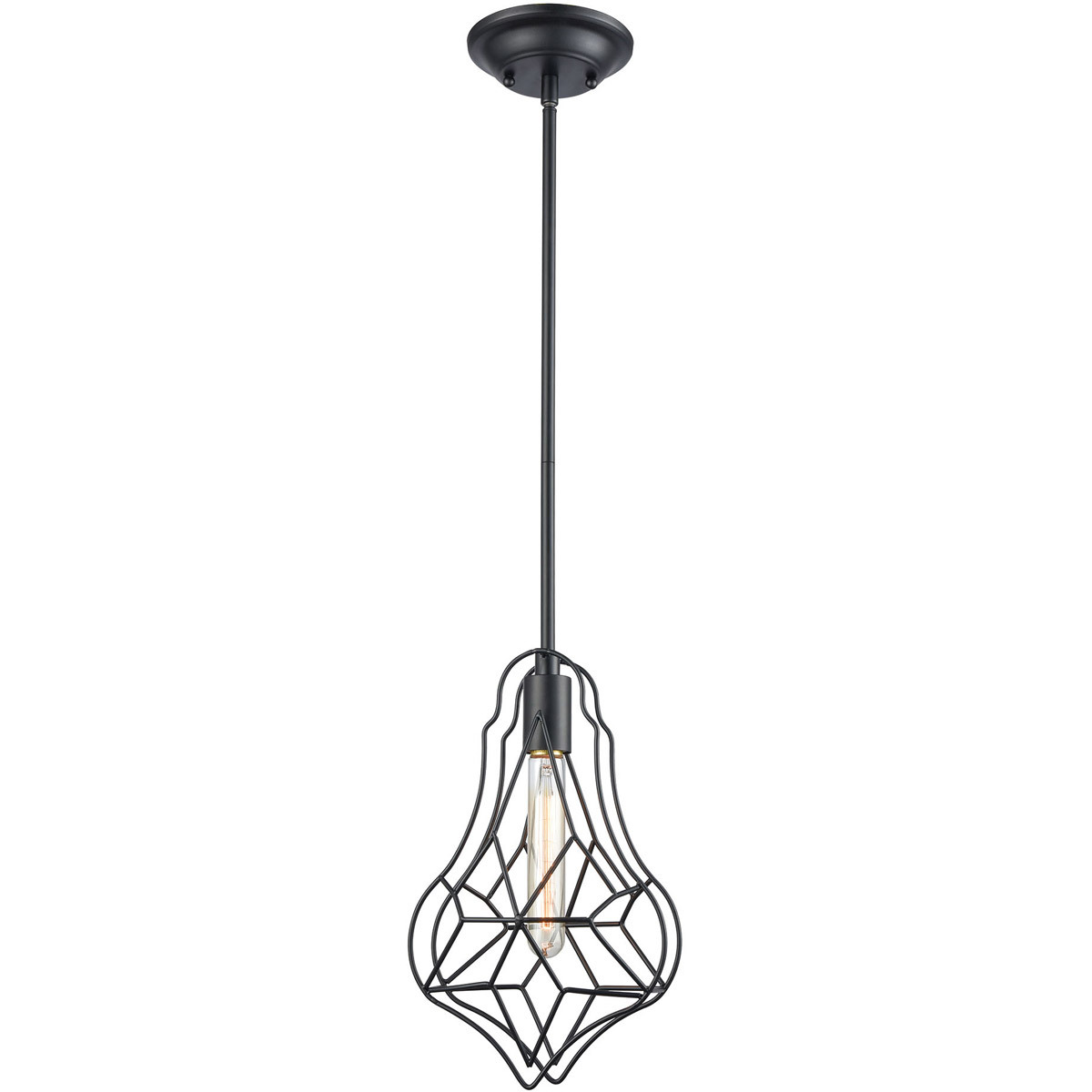Pendants 1 Light Fixture With Matte Black Metal Crystal