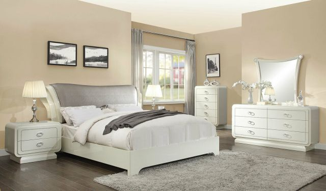 Modern Off White & Gray Faux Leather Bedroom Furniture ...