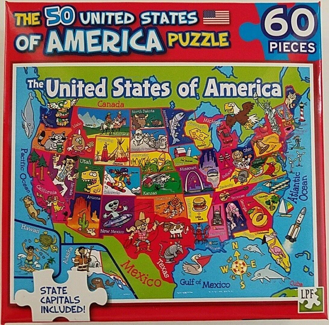 60 Piece Jigsaw Puzzle Map 50 American States Usa W State