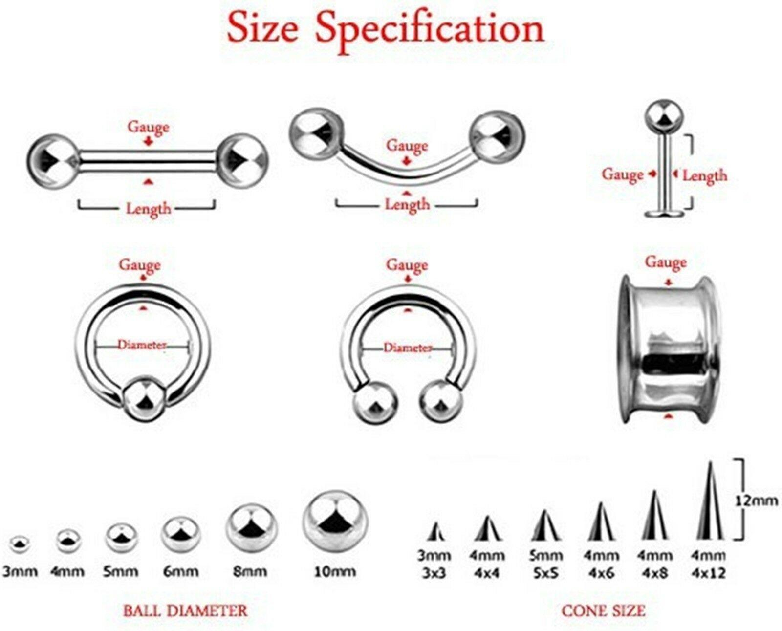 Barbell Tongue Nipple Ring Heavy 2 Gauge 1 2 10mm Balls Steel Body Jewelry